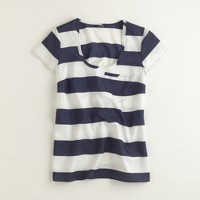 Factory rugby-stripe silk top