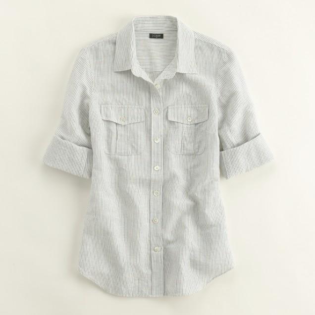 Factory stripe linen-cotton camp shirt