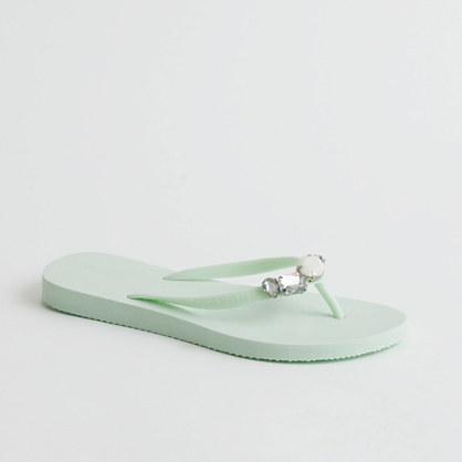 Factory Boca jeweled flip-flops