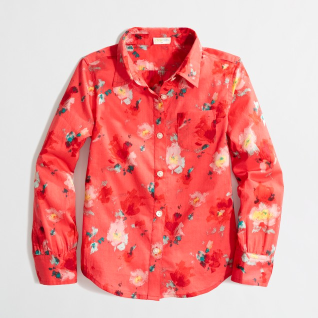 Factory girls' printed classic button-down shirt