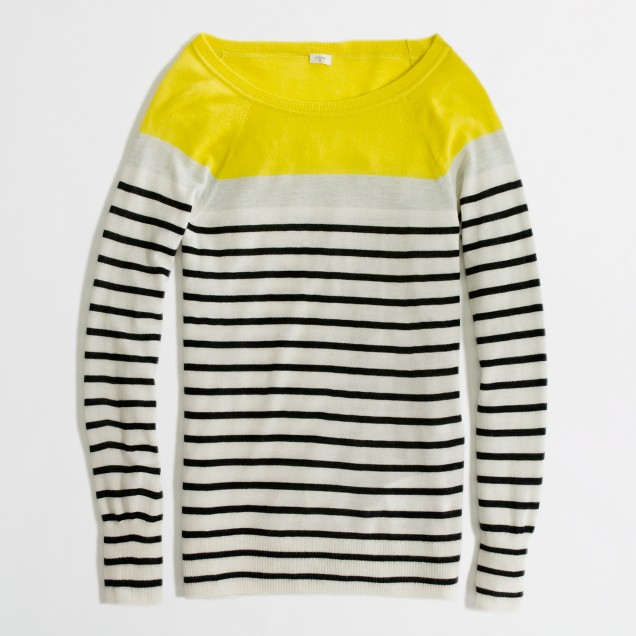 Factory colorblock summerweight cashmere boatneck sweater