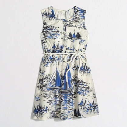 Factory girls' printed rope-belt dress