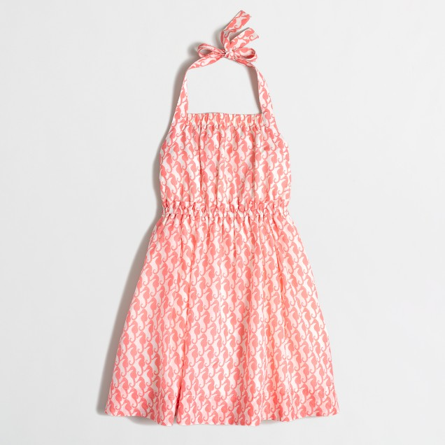 Factory girls' printed halter dress
