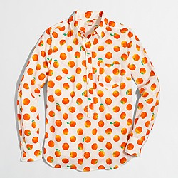 Factory printed voile popover shirt