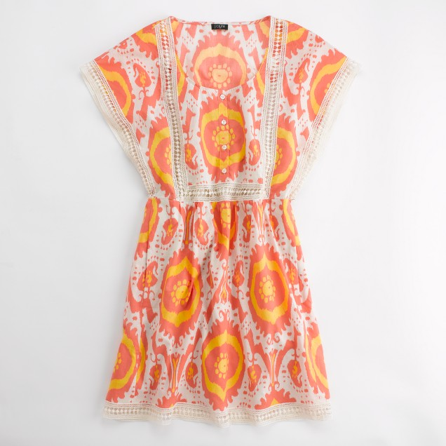 Factory printed eyelet-trim dress