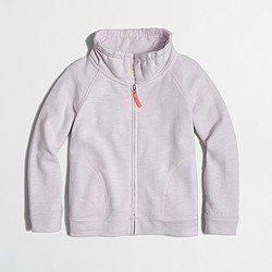 Factory girls' terry zip-up sweatshirt