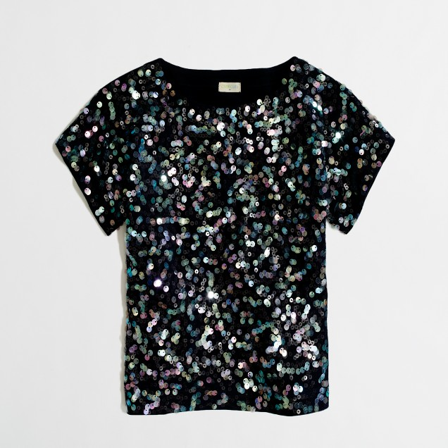 Factory girls' allover sequin tee