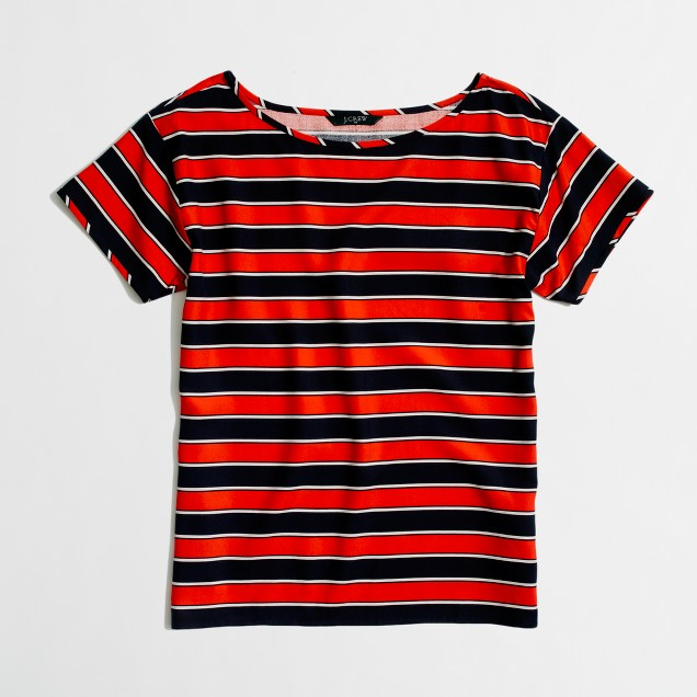 Factory printed washed silk tee