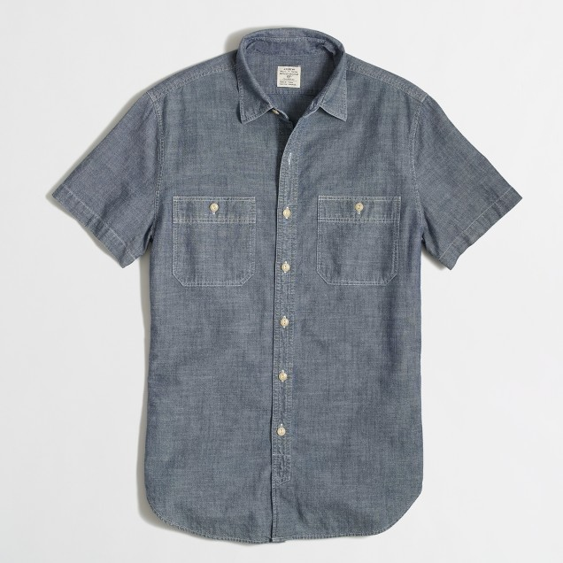 Factory short-sleeve chambray workshirt