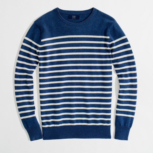 Factory stripe heathered cotton sweater
