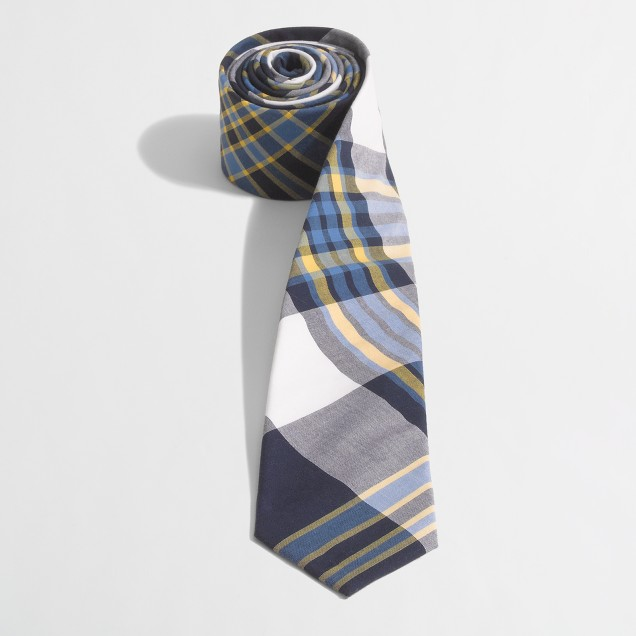 Factory washed plaid tie