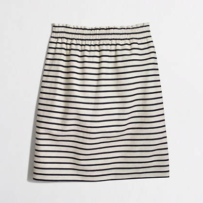 Factory printed linen-cotton mini skirt