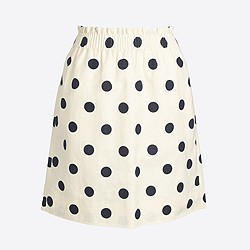 Printed linen-cotton sidewalk mini skirt
