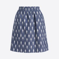 Printed linen-cotton sidewalk mini skirt