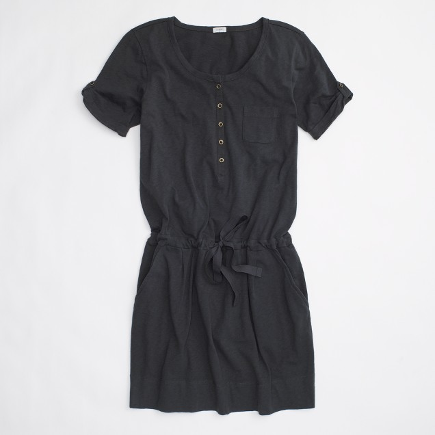 Factory drawstring henley shirtdress