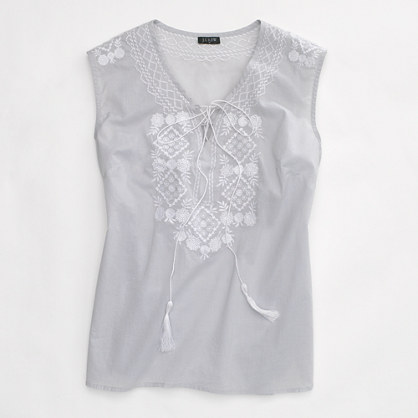 Factory flower mosaic embroidered top