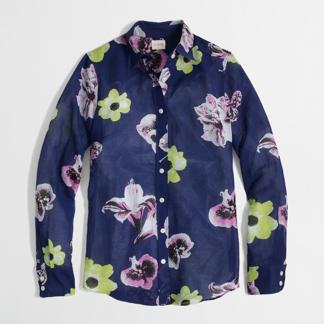 Factory printed classic button-down shirt in cotton-silk