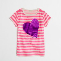 Factory girls' stripe glitter heart keepsake tee