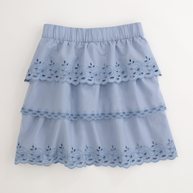 Factory eyelet tiered skirt