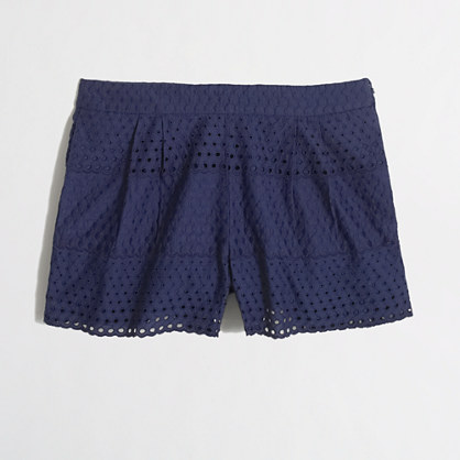 Factory scalloped eyelet short