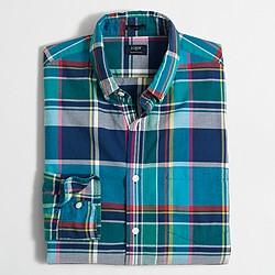 Factory slim summer plaid shirt