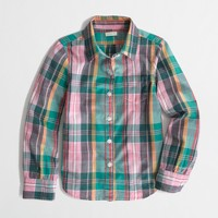 Factory girls' classic button-down shirt in plaid
