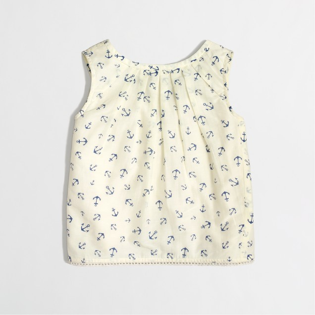 Factory girls' airy tank in anchor print