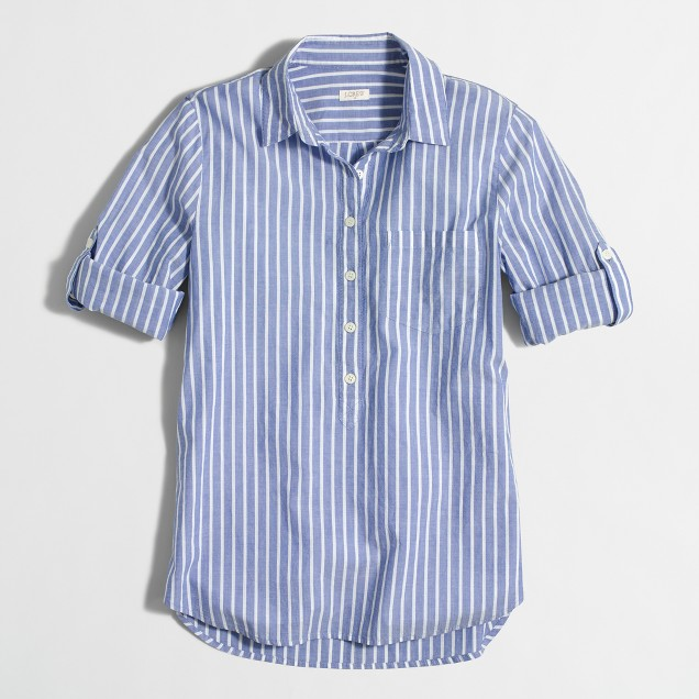 Stripe pocket popover shirt