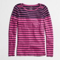 Factory long-sleeve artist boatneck tee in mixed stripe