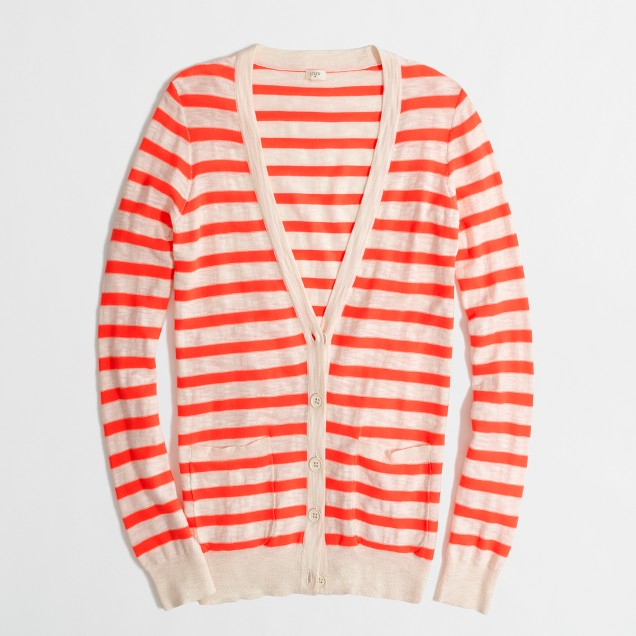 Factory neon-stripe v-neck cardigan