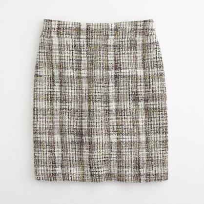Factory plaid tweed pencil skirt