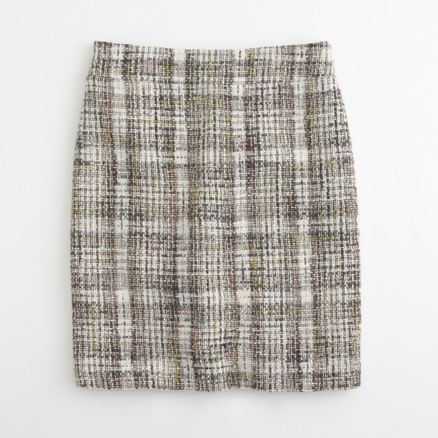 Factory plaid tweed pencil skirt