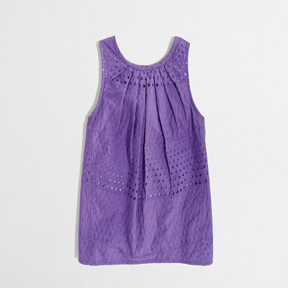 Factory girls' airy tank in eyelet