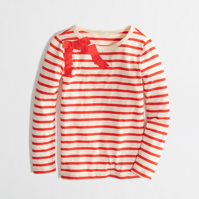 Factory girls' long-sleeve stripe bow tee