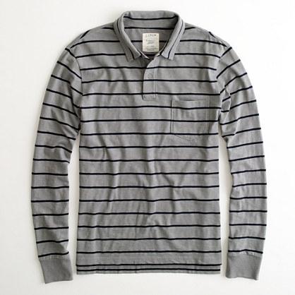 Factory long-sleeve medium-stripe slub polo