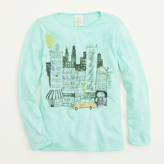 Factory girls' long-sleeve cityscape keepsake tee