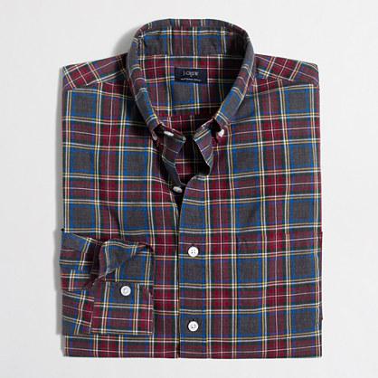 Tall heathered cotton plaid shirt