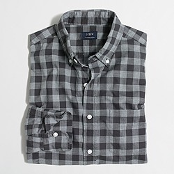 Factory heathered cotton plaid shirt
