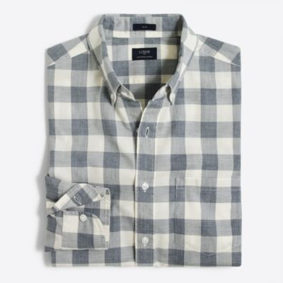 Slim heathered cotton gingham shirt