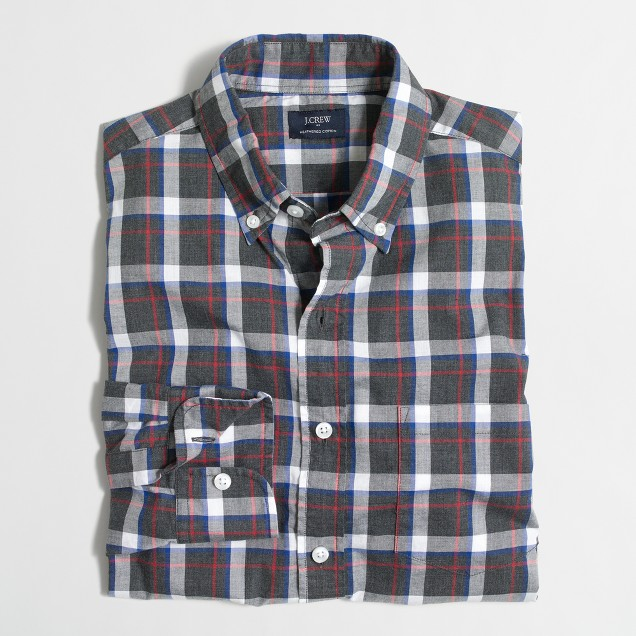 Tall heathered cotton plaid shirt