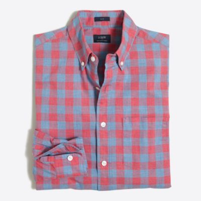 Slim heathered cotton gingham shirt factorymen new arrivals c