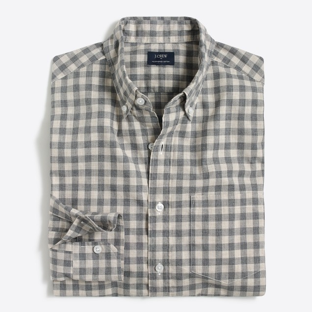 Slim heathered cotton gingham shirt