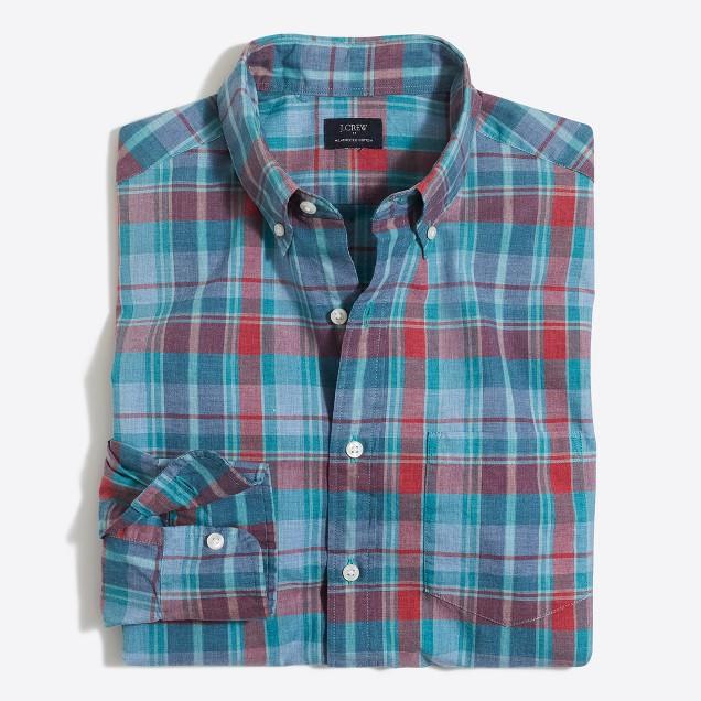 Heathered cotton plaid shirt