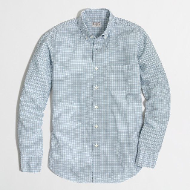Factory washed shirt in small tattersall