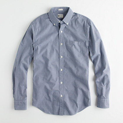 Factory button-down washed shirt in mini-gingham