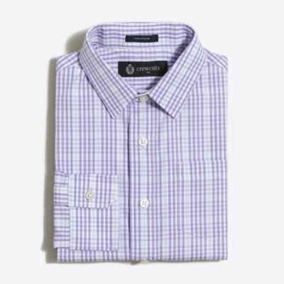 Boys' patterned Thompson point-collar dress shirt