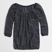 Factory stripe gauze blouse