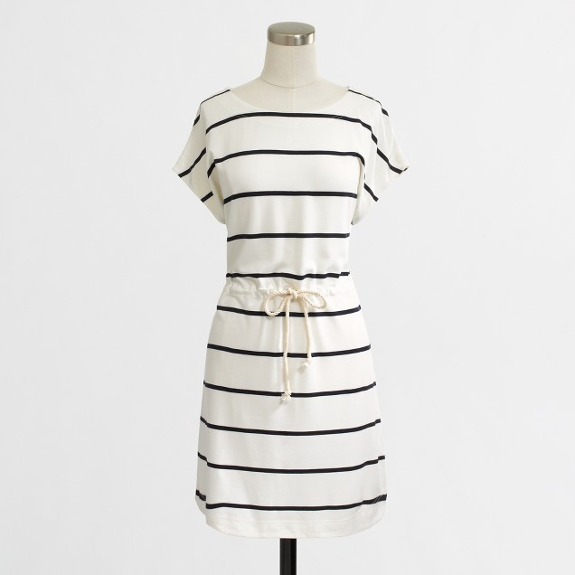 Factory drawstring stripe tunic
