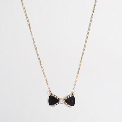 Factory crystal bow necklace