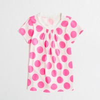 Factory girls' gathered cotton tee in spots